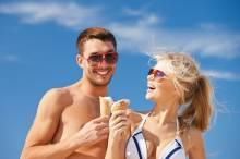 A couple enjoy ice-cream